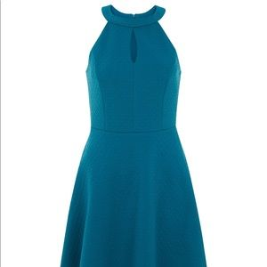 New Look Blue Textured Cut Out Front Skater Dress
